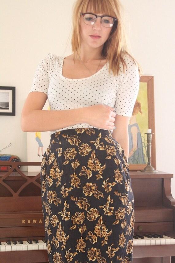 Vintage High Waisted Skirt, The Golden flower