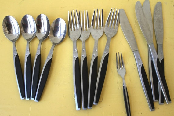 mid century silverware set