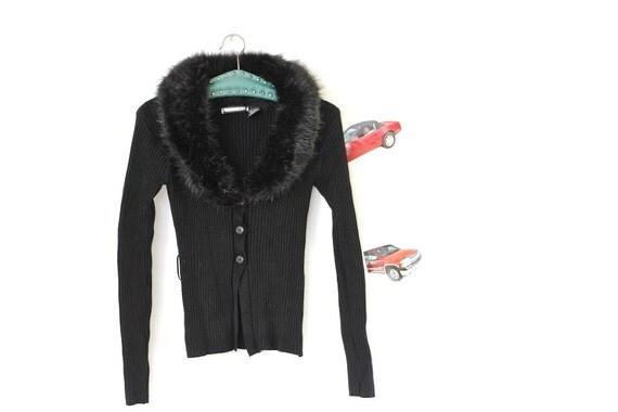 CLUELESS faux fur cardigan CLUB KID, 90ss huge collar