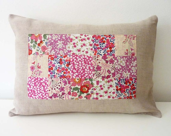 Raspberry Liberty of London Patchwork Pillow on Natural Linen. 12x16