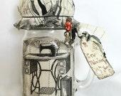 Vintage Look - Pincushion Jars, Sewing Kit