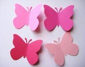 40 Large Mixed Pink Butterfly punch die cut embellishments E415