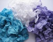 Grape White Turquoise Hand Crinkled Seam Binding Rayon Ribbon 15 yards noE1306 SALE