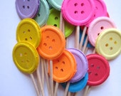 24 Buttons Party Picks - Cupcake Toppers - Toothpicks - Food Picks - die cut punch FP187
