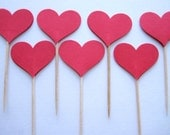 24 Red Heart Party Picks - Cupcake Toppers - Toothpicks - Food Picks  FP194