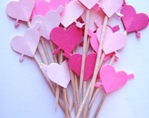 24 Mixed Pink Heart with Arrow Party Picks - Cupcake Toppers - Toothpicks - Food Picks - FP150