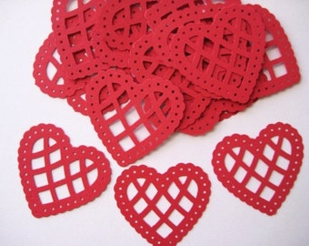 20 Large Red Lacey Hearts punch die cut embellishments E387