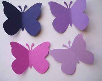 40 Large Mixed Purple Butterfly punch die cut embellishments E422
