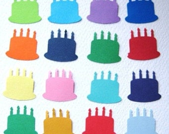 100 Birthday Cake punch die cut embellishments E169