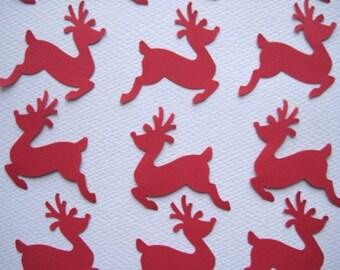 20 Christmas Red Reindeer punch die cut embellishments noE143