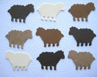 100 Brown  Cream Sheep punch die cut embellishments E154