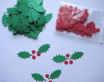 100 Holly Leaves and 150 Berries punch die cut embellishments E176