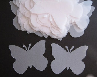 40 Large Clear Vellum Butterfly punch die cut embellishments E478