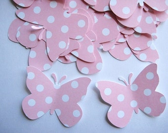 40 Large Pastel Pink  Dots Butterfly punch die cut embellishments E506