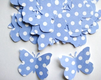 40 Large Pastel Blue  Dots Butterfly punch die cut embellishments E505