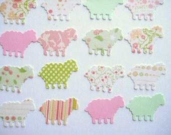 100 Pink Green Sheep die cut punch scrapbooking embellishments E521