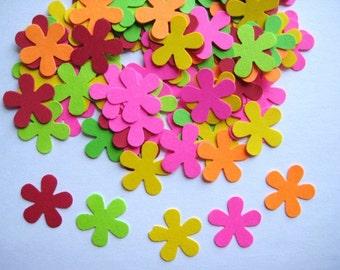 100  Bright Mini Retro Flower punch die cut embellishments E542