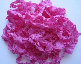5 yards Strawberry Glaze Pink Crinkled Seam Binding E1017 SALE