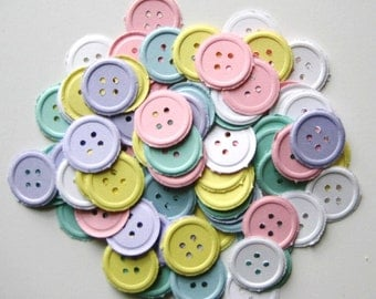 100 Embossed Pastel Buttons punch die cut embellishments  E1040