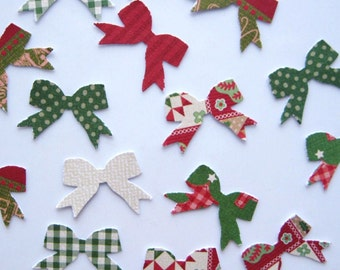 100 Christmas Bow Paper punch die cut embellishments E1164