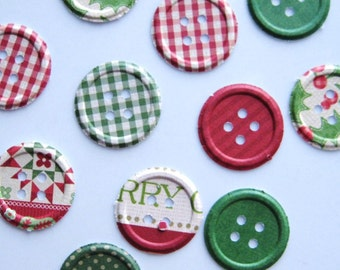 100 Embossed Christmas Button Paper punch die cut embellishments  E1168