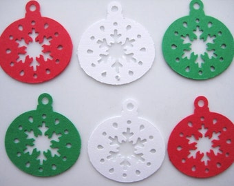 50 Christmas Ornaments  punch die cut embellishments E1176