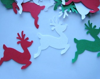21 Christmas Red Green White Reindeer punch die cut paper punch embellishments E1199