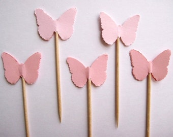 24 Light Pinks Classic Butterfly Party Picks - Cupcake Toppers - Toothpicks - Food Picks -  FP111
