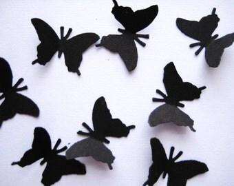 100 Black Monarch Butterfly punch die cut confetti scrapbooking embellishments noE1276
