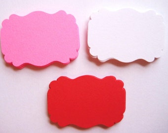 50 Red Pink White Tags journal gift party favor E1302