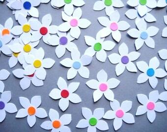 50 White Star Flower Petals punch die cut embellishments E1324