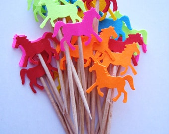 24 Bright Horse Party Picks - Cupcake Toppers - Toothpicks - Food Picks - die cut punch FP152