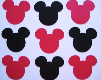 100 Black Red Mickey Mouse punch die cut embellishments E1352