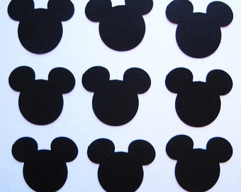 100 Black Mickey Mouse punch die cut embellishments E1351