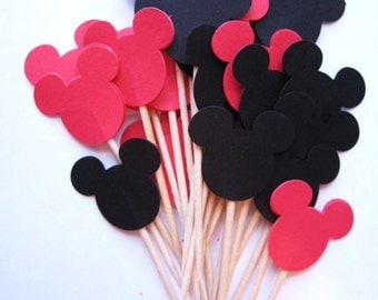 24 Mickey Mouse Party Picks - Cupcake Toppers - Toothpicks - Food Picks -  FP153