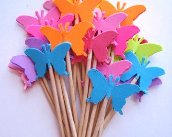 24 Bright Monarch Butterfly Party Picks - Cupcake Toppers - Toothpicks - Food Picks - die cut punch FP162