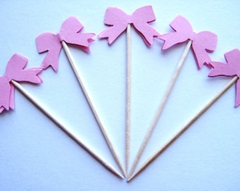 24 Pink Bow Party Picks - Cupcake Toppers - Toothpicks - Food Picks -  FP246