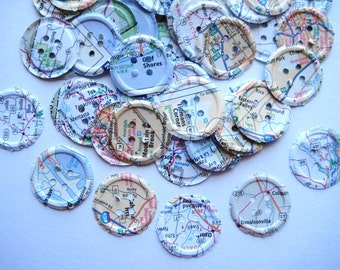 100 Embossed Map Buttons punch die cut embellishments  E1383
