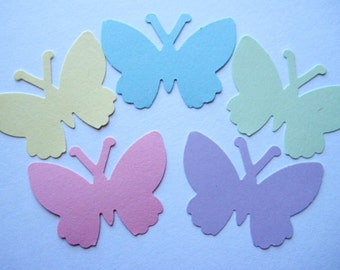 50 Large Pastel Butterfly punch die cut embellishments noE1384