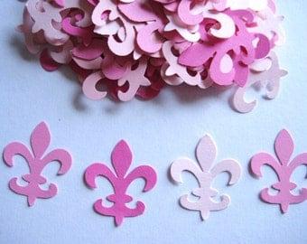 100 Mixed Pink Fleur De Lis punch die cut embellishments E1433