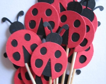 12 Red Ladybugs Party Picks - Cupcake Toppers - Toothpicks - Food Picks - FP278
