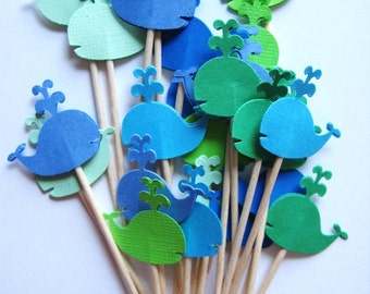 24 Mixed Blue & Green Whales Party Picks - Cupcake Toppers - Toothpicks - Food Picks -  FP291