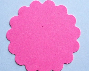 """25 Hot Pink 2"""" scalloped round Tags journal gift party favor scrapbooking noE1440"""