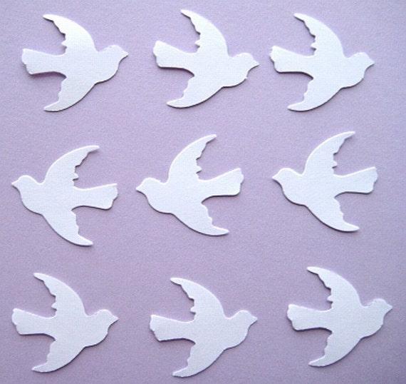 100 White Wedding Dove Bird punch die cut embellishments E115