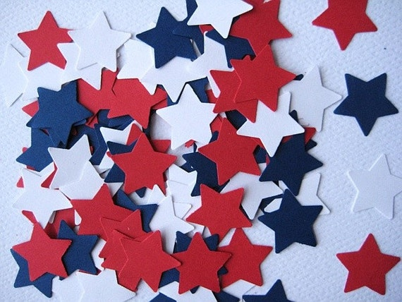100 Red White Blue Star punch die cut embellishments E228
