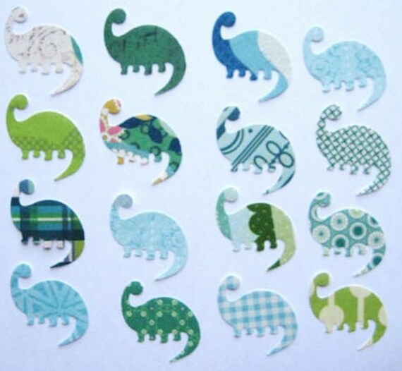 100 K and Company Paper Blue Green Dinosaur punch die cut embellishments noE750