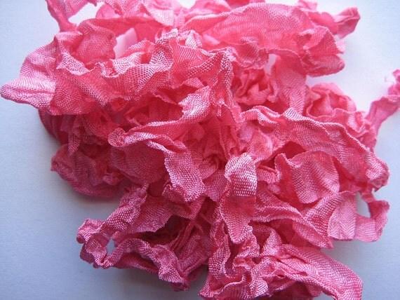 5 yards Sun Rose Pink Crinkled Seam Binding noE650 SALE