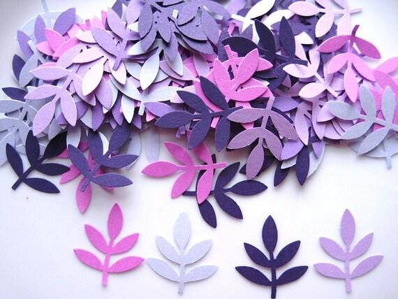 100 Mixed Purple Fern Leaf Frond punch die cut embellishments E1124