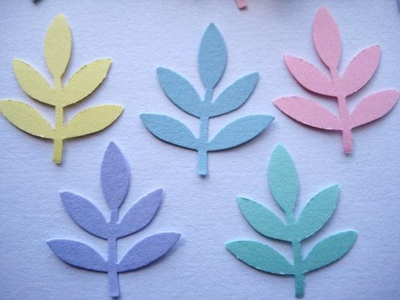 100  Pastel Fern Leaf Frond punch die cut embellishments E1323