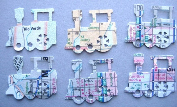 50 Recycled Atlas Map Trains punch die cut embellishments noE1316